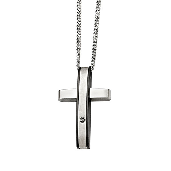 Mens 1/7 Ct. T.W. Diamond Stainless Steel Cross Pendant