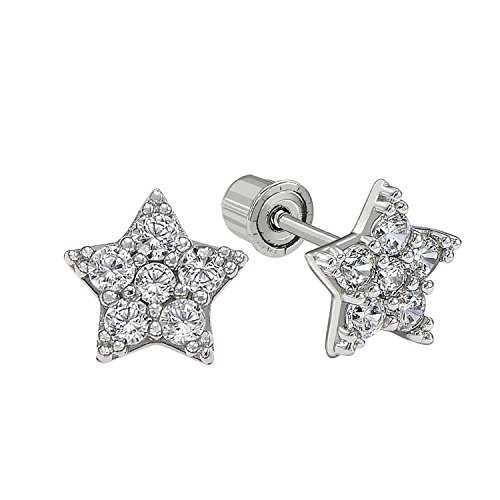 14k Gold Small Star shaped CZ Stud Earrings with Secure Screwbacks for Girls (white-gold)