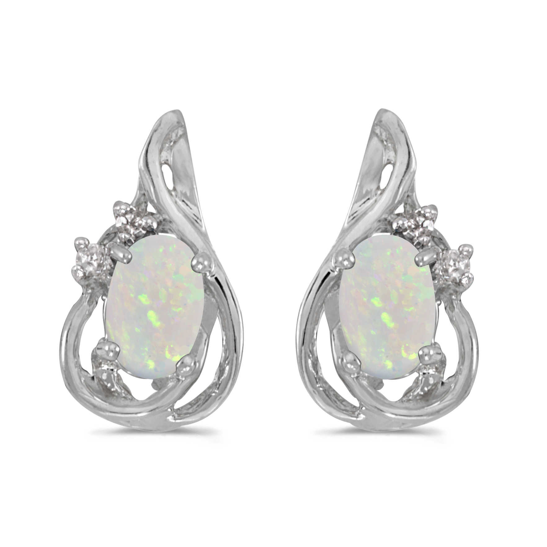 14k White Gold Oval Opal And Diamond Teardrop Earrings