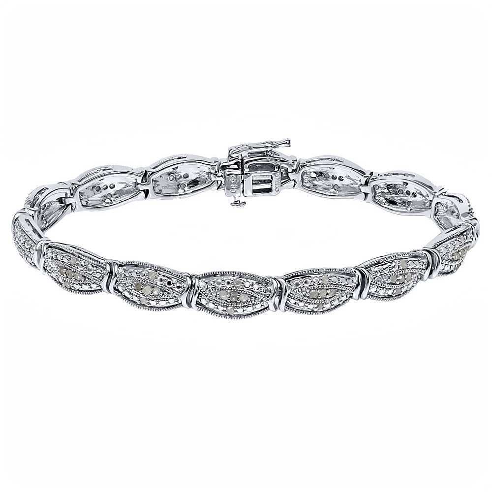 1.00ctw Rough Faceted Diamond 7.5' Curved Rhodium Plated Bracelet