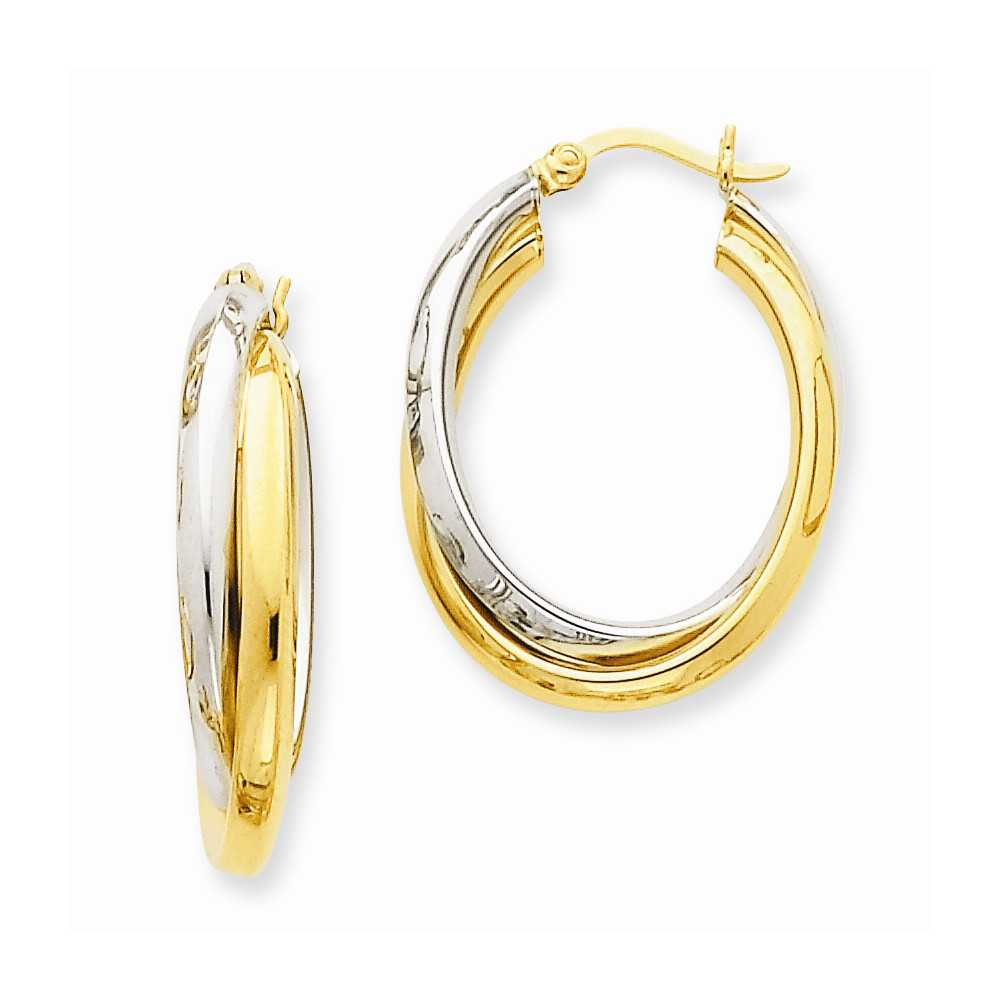 14k Two Tone Gold 0.6IN Long Polished Double Oval Hoop Earrings
