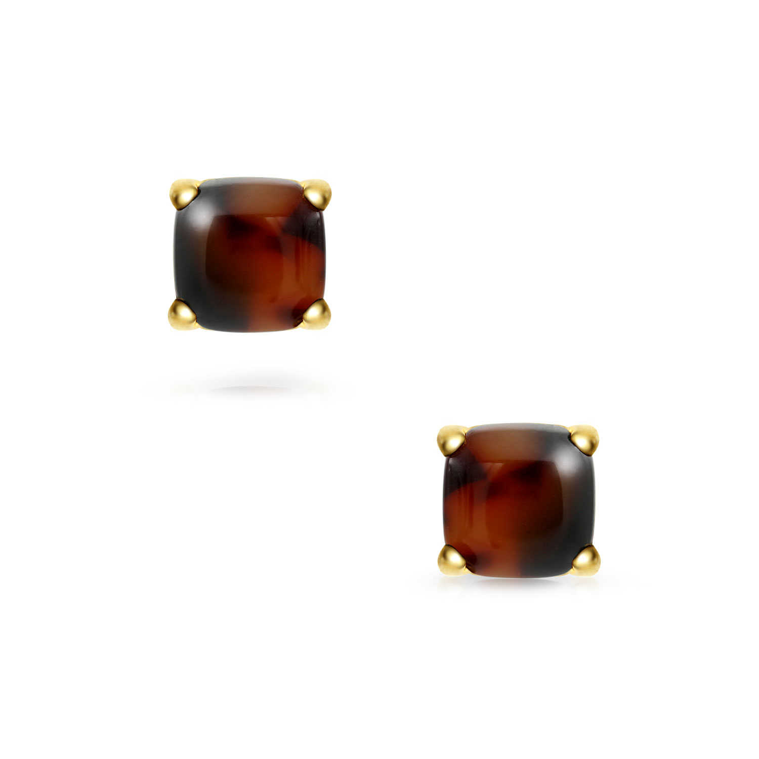 Bling Jewelry Acrylic Tortoise Shell Gold Plated Steel Stud earrings 8mm