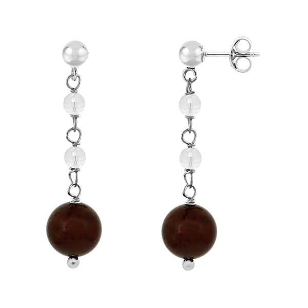 Genuine Garnet and White Topaz Sterling Silver Linear Drop Earrings
