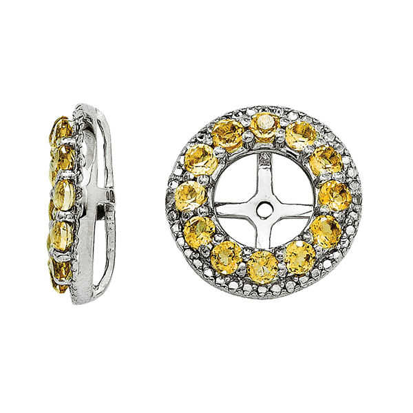 Genuine Citrine and Diamond Accent Sterling Silver Earring Jackets