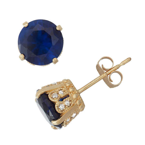 Lab Created Sapphire And 1/6C.T. T.W. Diamond 10K Yellow Gold Earrings