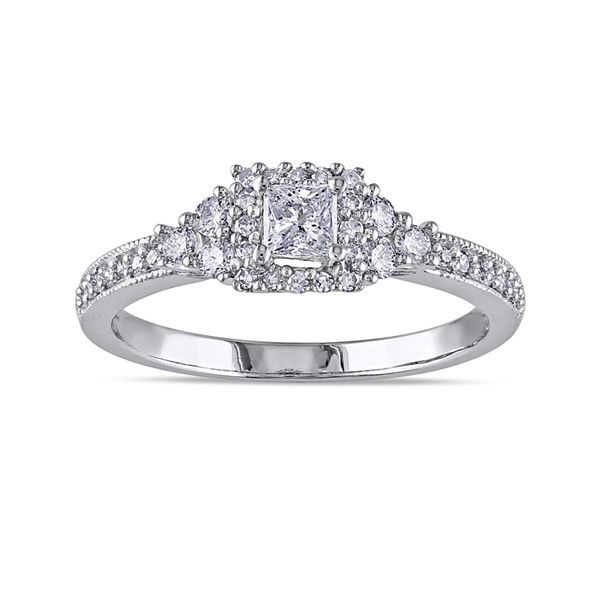 1/2 CT. T.W. Princess-Cut and Round Diamond 14K White Gold Ring