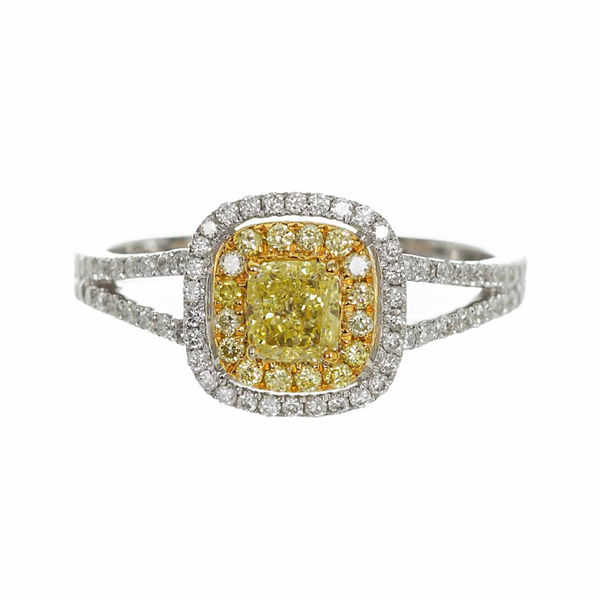 Womens 7/8 CT. T.W. Genuine Princess Yellow Diamond 14K Gold Engagement Ring