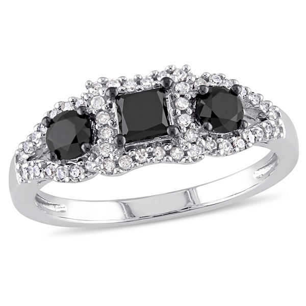 Midnight Black Diamond 1 CT. T.W. White & Color-Enhanced Black Diamond 10K White Gold 3-Stone Ring