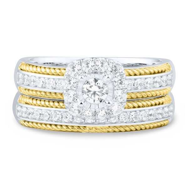 5/8 ct. tw. Diamond Engagement Ring Set in 10K White & Yellow Gold