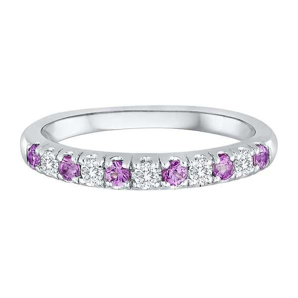 1/7 ct. tw. Diamond & Pink Sapphire Band in 14K White Gold