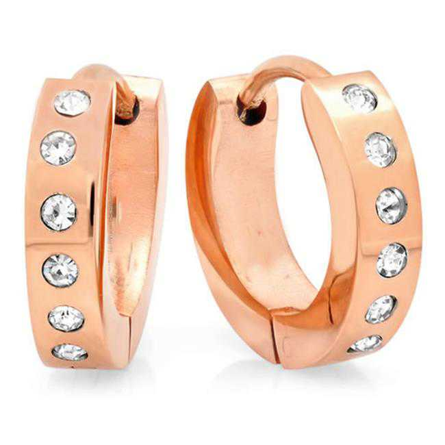 Designer Jewelry 689-003-E Rose Gold Huggie Earring Set With Cubic Zirconia