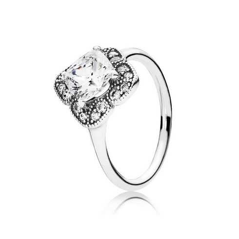 PANDORA Crystalized Floral Fancy Ring, Clear CZ