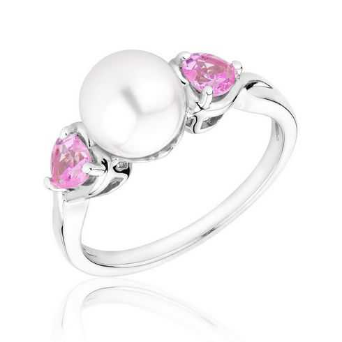 Pearl and Created Pink Sapphire Heart Ring