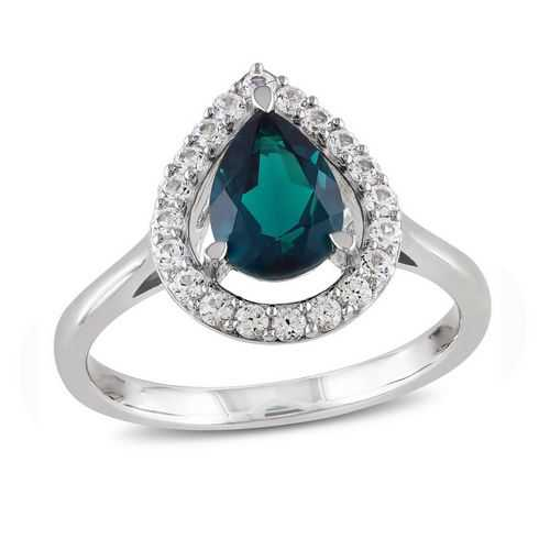 Created Emerald and Created White Sapphire Pear Ring