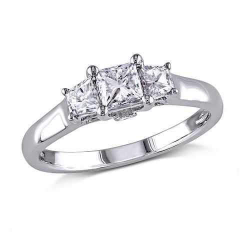 Three Diamond Princess and Trapezoid Engagement Ring 1ctw