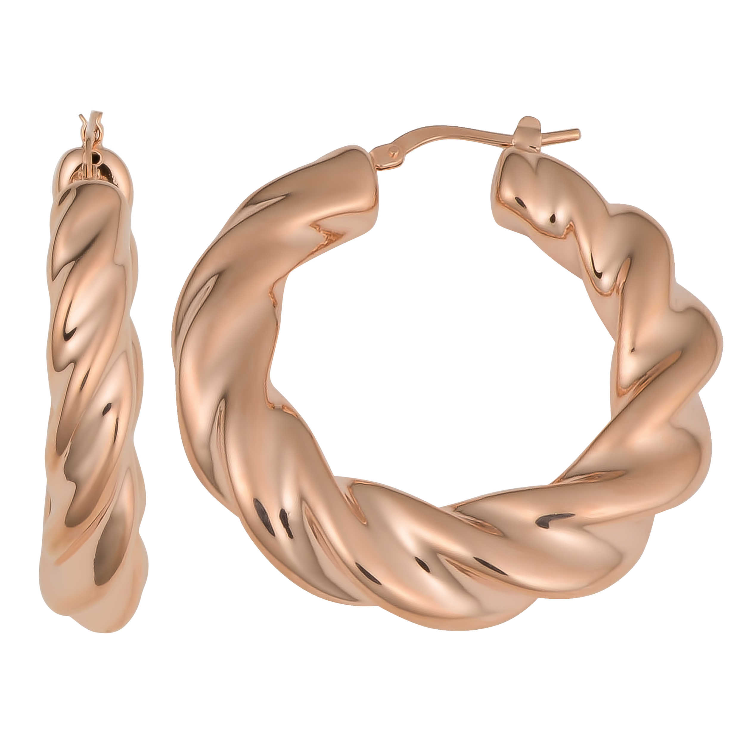 Overstock ORSE1757 Oro Rosa 18k Rose Gold over Bronze Italian High Polished Finish Twisted Hoop Earrings
