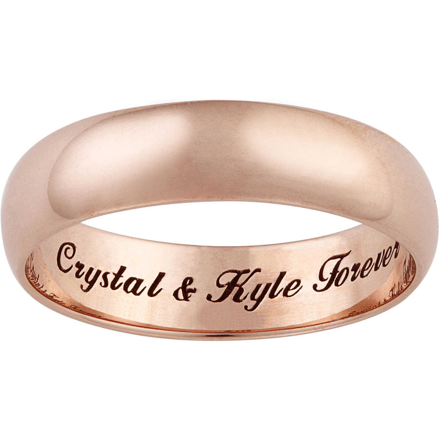 Personalized Rose Gold over Sterling Silver Engraved Message Ring, 5mm